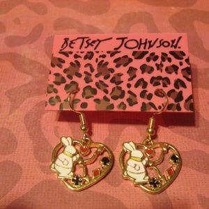 Betsey Johnson Bunny Heart Dangling Earrings